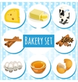 Bakery set butter eggs and other ingredients vector image