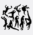 Male and female party dancing pose silhouette vector image vector image