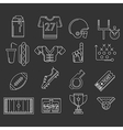 American football outline icons vector image
