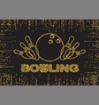 bowling pins gold color lights silhouette on dark vector image
