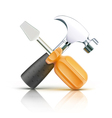 Screwdriver and hammer vector image