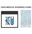 DNA Analysis Calendar Page Icon With 1000 Medical vector image