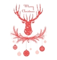 Deer head in wreath with Christmas decorations vector image