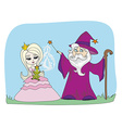 Cartoon of Fantasy Wizard with Magic Wand Casting vector image vector image