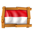 indonesia flag in wooden frame vector image vector image