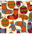 seamless winter Christmas pattern vector image