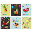 set of party flyers banners with fruit characters