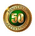 50 years anniversary golden label vector image