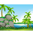 River scene with field and trees vector image vector image