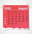 Calendar august 2016 colorful torn paper vector image