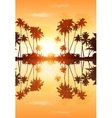 Orange sky palms silhouettes with reflection vector image