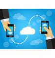 Mobile phone data sharing internet cloud vector image