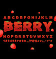 berry font strawberry abc red fresh fruit vector image