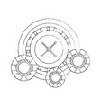 casino roulette wheel with chips fortune risk vector image