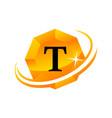 diamond swoosh initial t vector image