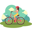 young pretty woman girl riding bicycle cycling vector image