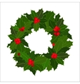 Christmas wreath with holly berry Hand drawn vector image