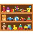 Kids toys on wood shop shelves vector image vector image