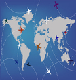 Airplanes and map vector image