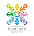 Logo Icon Arrow Letter C Colorful Design Symbol vector image