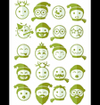 icons set 20 smiles winter green half vector image vector image