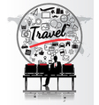 Silhouette people with travel concept vector image