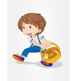 Boy with mushrooms vector image vector image