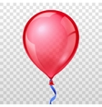 Realistic red balloon on transparent checkered vector image