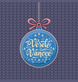 vesele vanoce greeting card in heart form vector image