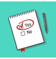 Yes no checked with red marker line on notebook vector image
