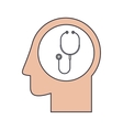 Silhouette head human with gray stethoscope vector image
