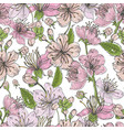 realistic sakura hand drawn seamless pattern with vector image