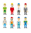 construction workers in helmets and uniforms vector image