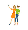 girls make selfie hugging flat isolated vector image