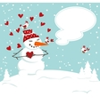 invitation card with a snowman vector image