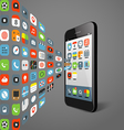 Different color icons flows to modern smartphone vector image vector image