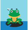 Frog and fly vector image