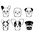 Set of cartoon puppies Black and white vector image