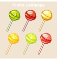 cartoon fruits candy lollipops vector image