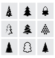 black cristmas trees icon set vector image