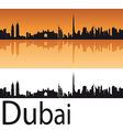 Dubai skyline in orange background vector image