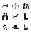 Hunting of animals icons set simple style vector image