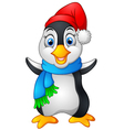 penguin waving hand wearing red cap vector image