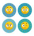set of summer sun faces cartoon vector image