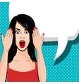 Indignant brunette girl red dress vector image vector image