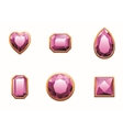 Set of pink colored gems vector image vector image