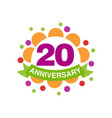 20th anniversary colored logo design happy vector image