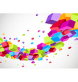 Colorful bright cubes fly wave perspective view vector image vector image