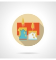 Festive candles flat round icon vector image