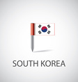 south korea flag pin vector image
